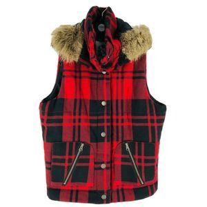 BB Dakota Red Buffalo Plaid Wool Blend Vest Large